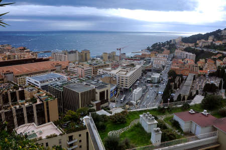 Aerial view of Monaco with construction work from the heights of the exotic garden Stock fotó