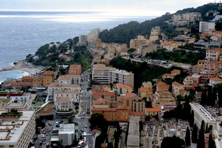 Aerial view of Monaco from the heights of the exotic garden