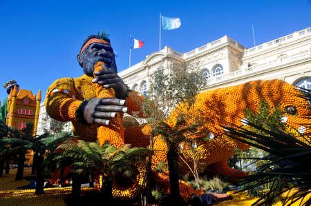 Bioves gardens in Menton during the lemon festival in February 2020.