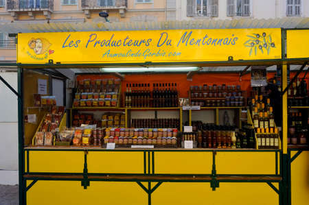 Stands selling products made from lemons during the Menton lemon festival in the south of France Sajtókép