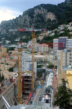 Aerial view of Monaco with construction work from the heights of the exotic garden Sajtókép