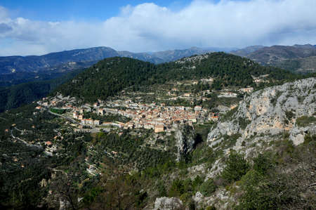 Village of Peille in the French department Alpes Maritimes view from the heights
