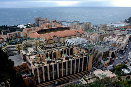 Aerial view of Monaco and the football stadium from the exotic garden