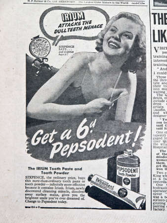 refreshes: Pepsodent toothpaste advertisement in a forties Daily Express newspaper