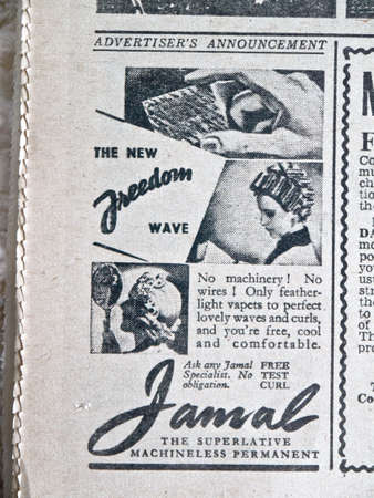 perming: Jamal, perming for hair advertisement in a forties Daily Express newspaper