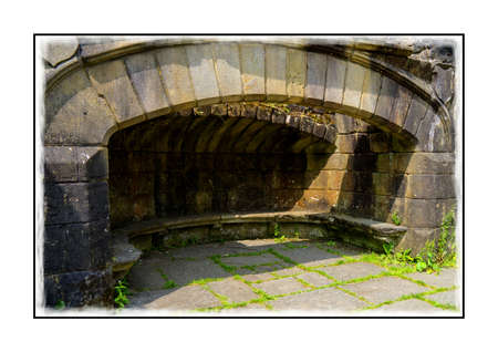 sixteenth: The dining hall fireplace in the sixteenth century ruins of Wycoller Hall Editorial