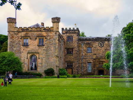 burnley: Towneley Hall Burnley and fountain Editorial