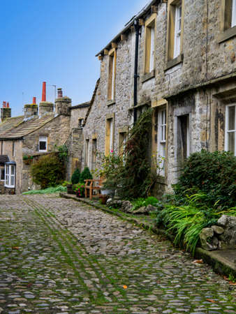 wharfedale: Typical cobbled street in Grassington Yorkshire