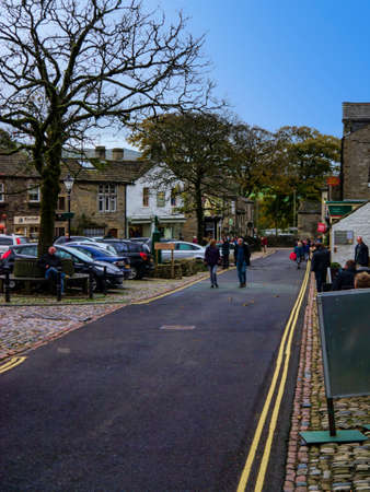 wharfedale: Main street through the village of Grassington Yorkshire