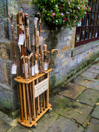 wharfedale: Handcrafted walking sticks and shepherds crooks in the village of Grassington Yorkshire Editorial