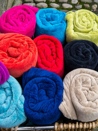 wharfedale: An array of vibrant colourful towels outside one of the many shops in Grassington Yorkshire
