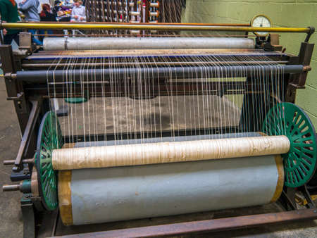 beaming: Lancashire cotton weaving mill Beaming frame