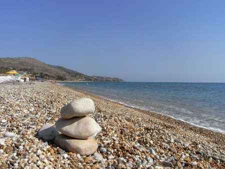 kefallonia: Pebble tower on the beach in Skala Kefalonia Greece