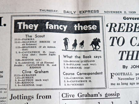 favourites: Horse racing favourites for betting in a 1940s newspaper Editorial