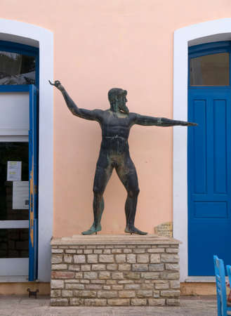 kefallonia: A statue of Odysseus outside a museum on the island of Ithaca Greece