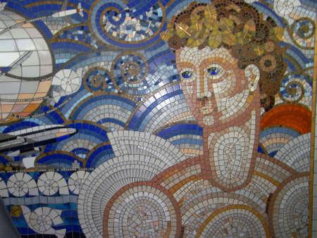 kefallonia: Greek mosaic mural on the wall at Kefalonias airport in greece