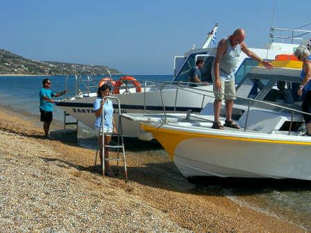 kefallonia: Water Taxi on the beach at Skala kefalonia Greece