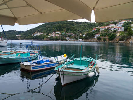 kefallonia: Fishing boats in a harbour on the Island of Ithaca in Greece