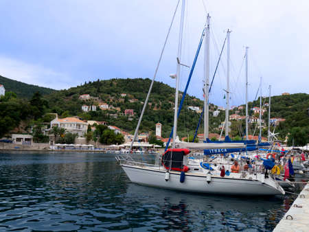 kefallonia: A row of yachts docked on the Island of Ithaca in Greece