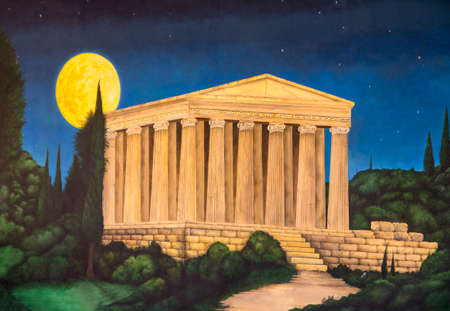 Painting of Olympia the temple of Zeus on a wall in Skala Kefalonia in Greece
