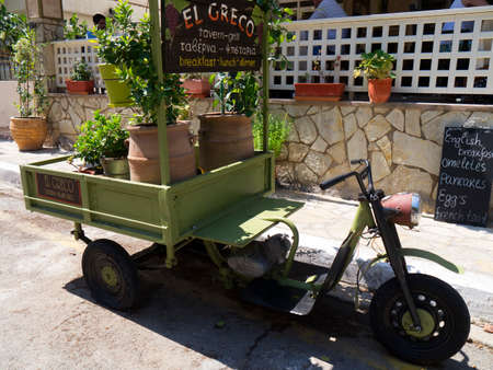 kefallonia: An unusual bike advertising El Greco restaurant in Skala Keflaonia Greece