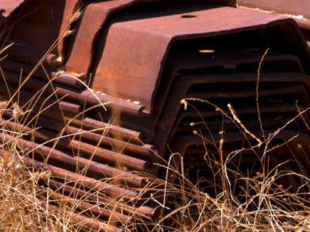 kefallonia: Rusted girders abandoned in a field