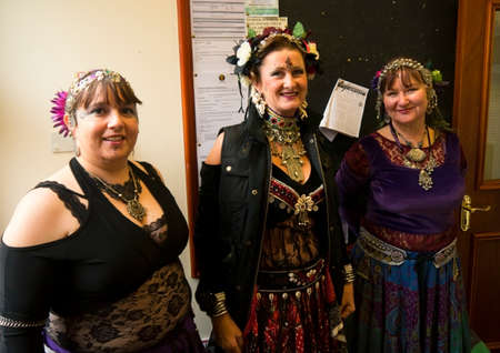 lancashire: Three lady belly dancers ready to perform at a local Sunday fete Editorial