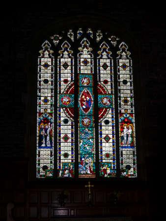 hombre pobre: Una de las vidrieras en la iglesia de St. Leonards en Downham Lancashire, que eran conocidos como Pobre hombre