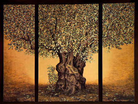 triptych: Triptych of the tree of life Stock Photo