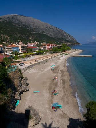 poros: Long sandy beach in Poros on the Island of Kefalonia in Greece