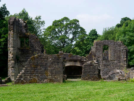 lancashire: The remains of Wycoller Hall in the village of Wycoller in Colne Lancashire