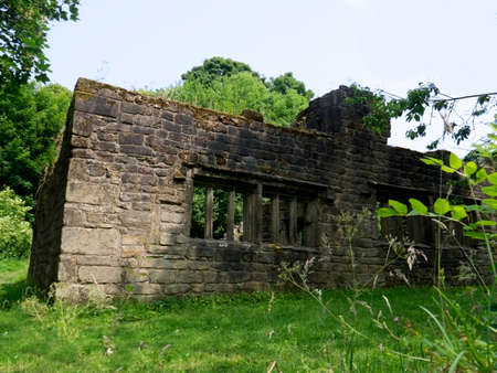 lancashire: The remains of Wycoller Hall in the historic village of Wycoller in Colne Lancashire