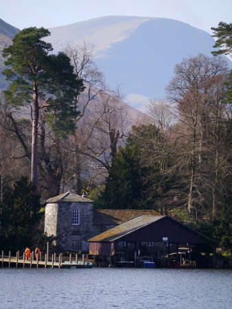 cumbria: A boat house overlooking Derwentwater in the town of Keswick Cumbria