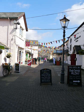cumbria: Packhorse Court decorated with bunting in the village of Keswick Cumbria