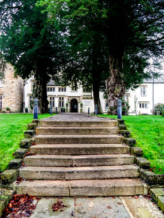 lancashire: Romantic stairways to the entrance of the country house hotel Mitton Hall in Whalley Lancashire Editorial