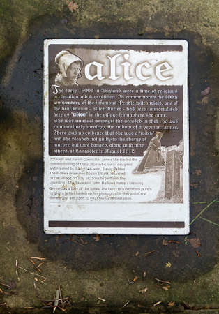 accused: A plaque describing the infamous witch trials of Alice Nutter one of the Pendle witches in 1612 Editorial