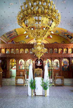 skala: The interior of a typical Orthodox church in the village of Skala on the beautiful Island of Kefalonia in Greece