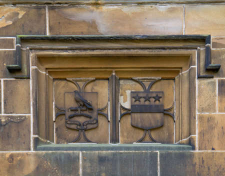 burnley: Towneley Hall Burnley Lancashire coat of arms as a stone carving on the outside of the building