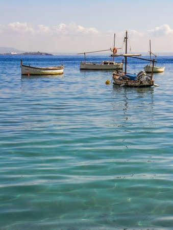 Fishing boats in the beautiful bay of Palma Nova on the Island of Majorca in Spain Editorial