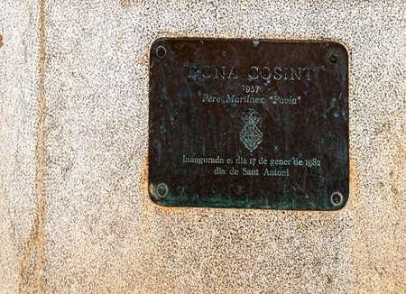 mounted: Plaque of Dona Consint Pere Martinez statue in Palma Majorca Spain.