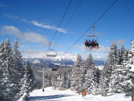 Winter Ski Lift Stock Photo