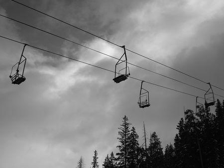 Ski Lift in Black and White photo