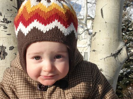 Little Boy Playing Outside in the Winter Stock Photo - 3963107