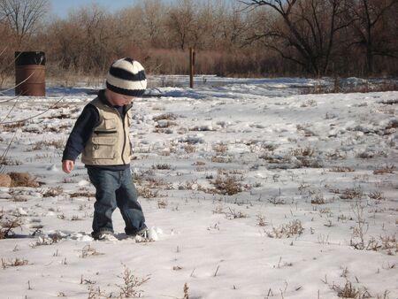 Cute Little Boy in the Snow
