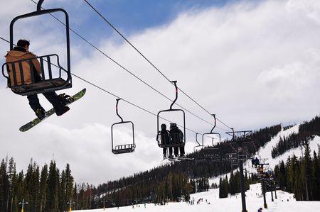 Skiers at Colorado Ski Resort photo
