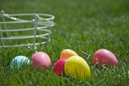 Colorful Easter Eggs and Green Grass photo