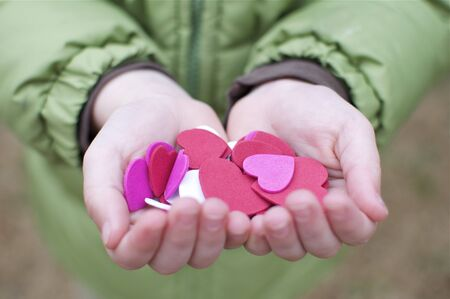 Valentines Day - Little Boy Holding Hearts