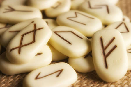 rune: Runic stones, for astrological consultation, past, present and future. With Glamour filter. Stock Photo