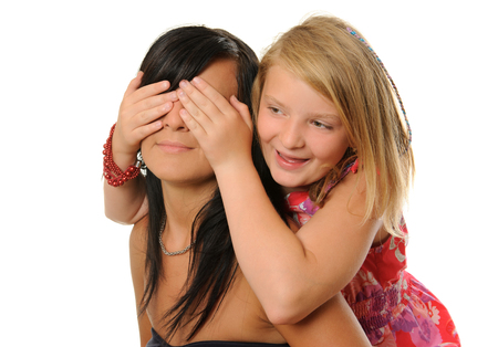 hands covering eyes: Sisters