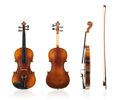 violas: Old violin front, back and side view with violin bow isolated on white background.